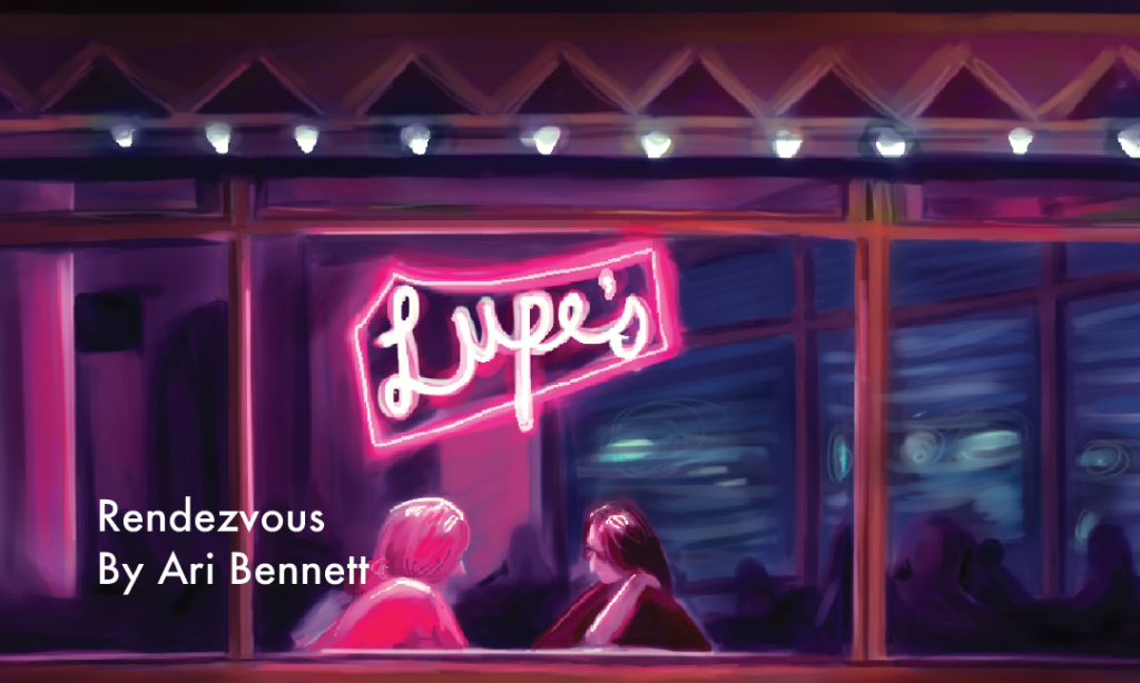 Two people meeting at a cafe with a neon light above them named Lupe's by Ari Bennett (Rendezvous)