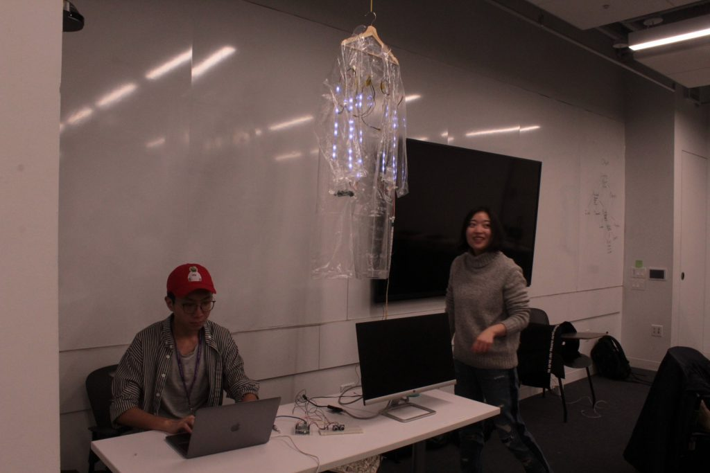 A student project which is a rain coat used for communication using LED lights in low visibility areas presented at ideation and prototyping showcase