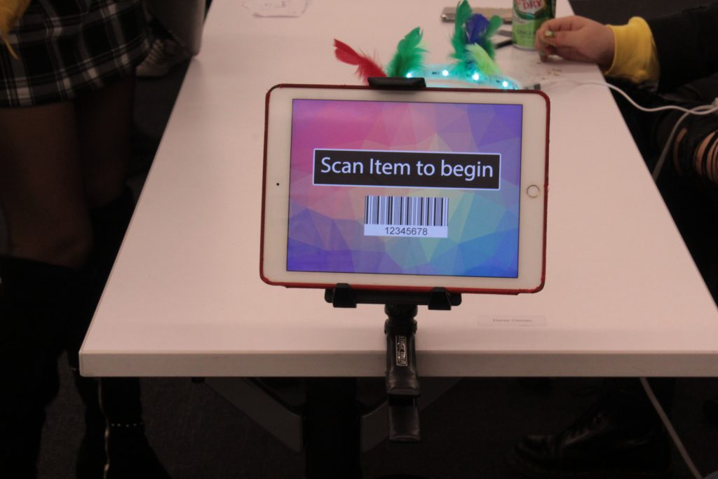 student project involving a bar code scanner on an ipad presented at ideation and prototyping showcase