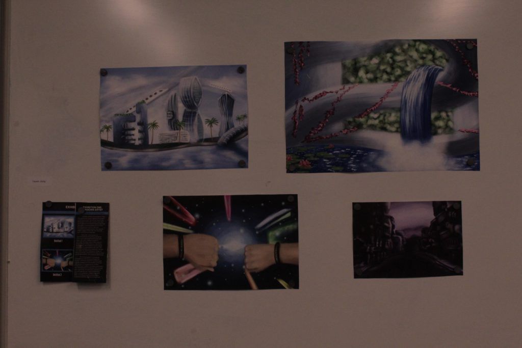 A printed student project with visuals posted on a wall at ideation and prototyping showcase