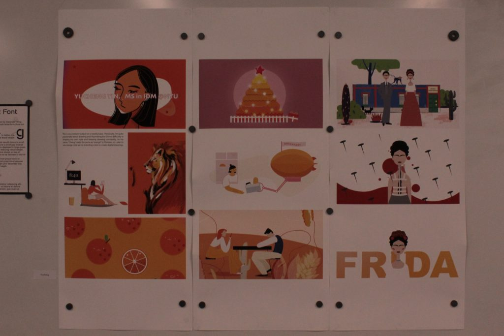 A student project with visuals documenting Frida Kahlo's creative process posted on a wall at ideation and prototyping showcase