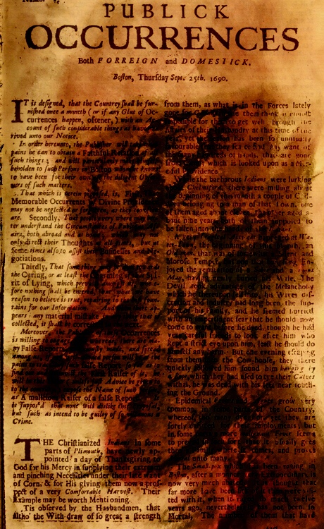 Newspaper with dark smudging of what looks like a mans face by Aryan Easwaran