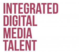 Red text on white background reading 'integrated digital media talent'